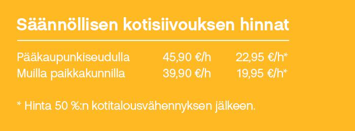 Säännöllisen kotisiivouksen hinnat alkaen 39,90 €/h – muista kotitalousvähennys!